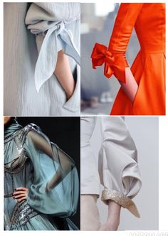 tie sleeve details: the orange one!My Complex Style. Kurti Sleeves Design, Sleeves Designs For Dresses, Sleeve Designs, Blouse Designs, Look Fashion, Fashion Details, Diy Fashion, Fashion Dresses, Fashion Design