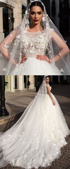 Fascinating Tulle Scoop Neckline Ball Gown Wedding Dress With 3D Flowers & Beading