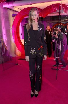Karlie Kloss wore a floral embroidered suit from our #Spring16 collection at the Fabulous #FundFair in London, benefitting the Naked Heart