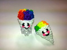 Rainbow Loom - 3D Happy SNOW CONE Charm. Designed and loomed by Ellen Carpenter at feelinspiffy. Click photo for YouTube Tutorial. 10/01/14.