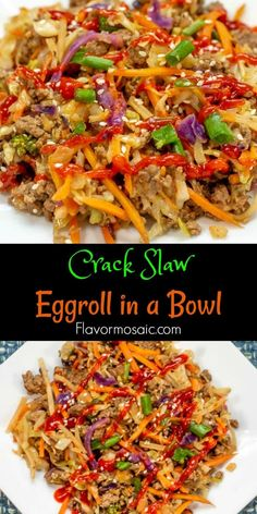 This Eggroll In A Bowl (Crack Slaw) is a one-skillet meal that is bursting with flavor and can be on the table in 20 minutes. It will keep everyone happy because it fits into Keto, Paleo, and Low Carb lifestyles! roll in a bowl Low Carb Recipes, Vegetarian Recipes, Cooking Recipes, Healthy Recipes, Cooking Cake, Whole30 Ground Beef Recipes, Diet Recipes, Coconut Recipes, Juice Recipes