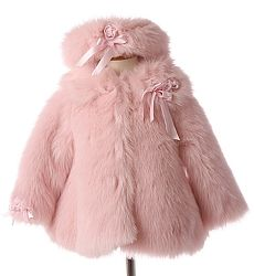 Rothschild Pink Wool Toddler Girls Coat Sz 2T Faux Fur Collar ...