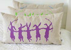 Dancing Bunnies Natural Linen pillow Cover by larksongcreations, $27.00