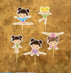 Gymnastics Cupcake Toppers - Gymnastics Girl - Gymnastics Birthday Party - Gym Girl Party .