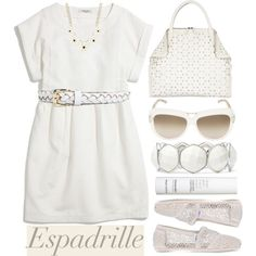 """""""White Lace/Espadrilles! #POLYVOREootd"""" by helenevlacho on Polyvore"""