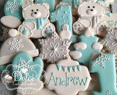 Items similar to Winter Onederland First Birthday Baby Shower Cookies on Etsy First Birthday Cookies, Baby Boy 1st Birthday, 1st Boy Birthday, 1st Birthday Parties, Birthday Celebration, Birthday Ideas, Baby Boy Cookies, Baby Shower Cookies, Shower Cake
