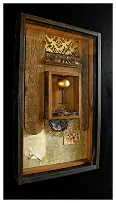 """""""Gambling with the Nest Egg"""" Assemblage - spicewood artists, austin artists 71 west Janice Anderson"""