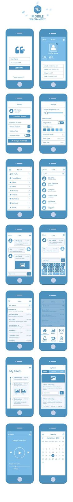Free Wireframe Kit by prasad prechu, via Behance #mobile #app #wireframe: