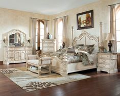 Magnolia Manor Antique White King Upholstered Panel Bed | For the ...