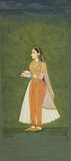 A lady with a wine flask and cup, 18th century, Mughal