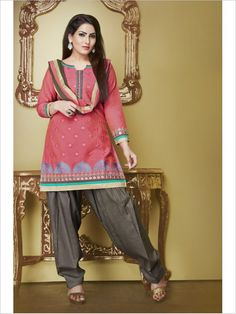 Salmon Pink Formal Art Silk Suit