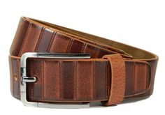 Real leather belt genuine grain wide casual strap buckle jeans trousers Tan Wood