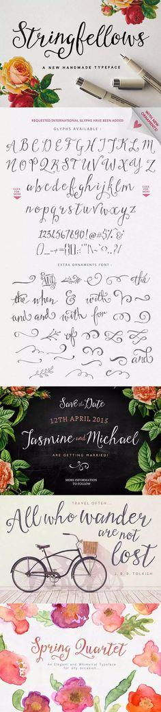 Stringfellows: a gorgeous hand-written script font part of the 30 fonts for $39 bundle!