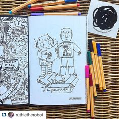 Thanks for sharing! Great pic  #Repost from @ruthietherobot ・・・ I'm excited to share my page in the new Doodlers Anonymous coloring book Blinking Lights and Beeping Parts! You can get a copy for yourself at shopdoodlers.com #robots #coloringbook #doodlersanonymous