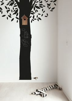 TREES IN KIDS ROOM - mommo design  I want one of these in mine- fun w. chalkboard paint!