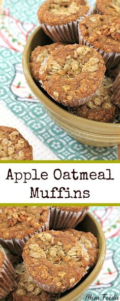 Healthy apple oatmeal muffins recipe that the family is sure to love. Great grab n go breakfast, also perfect with your weekend coffee on the porch. A neglected Granny Smith apple on the counter, led to the making of this Apple Oatmeal Muffins Recipe. Grab And Go Breakfast, Breakfast Muffins, Breakfast Bake, Best Breakfast, Breakfast Recipes, Morning Breakfast, Healthy Muffin Recipes, Healthy Muffins, Healthy Treats