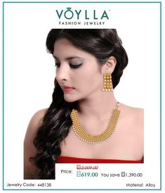 #Shop Elegant #Designing #Gold #Toned #Necklace #Set Studded With #Pearl #Beads for #Women online at best #prices in #India from #Voylla.com.