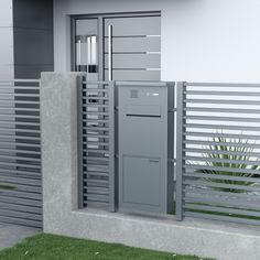JU fence mailbox with Soft-Close-System ® insertion flap steamed closing . JU fence mailbox with Soft-Close-System ® insertion flap damped closing. Flush front view with integrated ne House Fence Design, Window Grill Design, Door Gate Design, Wooden Door Design, Wooden Doors, Wall Design, Design Case, Gate Designs Modern, Modern Fence Design