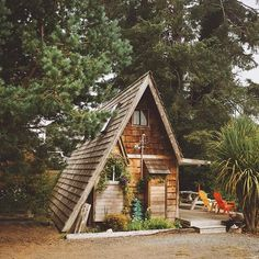 Little A-frame cabin on the Washington coast with some fun, colorful outdoor furniture. photo by Corey Wolfenbarger