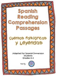 20% off + TPT bonus 10% off. Spanish reading comprehension practice packet--answering questions about folktales