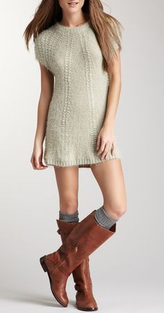 Knit dress + tall boots