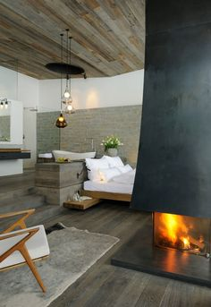 ♂ Masculine Industrial rustic interior design inspiration living room with fireplace