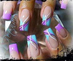 The Most Popular Nail Shapes – NaiLovely Purple Nail Art, Pretty Nail Art, Cool Nail Art, Blue Nails, Hot Nail Designs, Purple Nail Designs, French Nail Designs, Art Designs, Stylish Nails