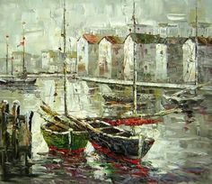 Canvas Art - Wall Art finished in USAHistory: Two Sailboats is a hand finished canvas oil painting. This impressionistic oil painting of two sailboats in a harbor setting is