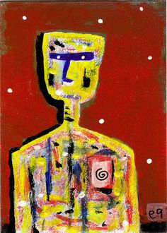 new beginnings from a patched-over life e9Art ACEO Outsider Art Raw Brut Folk Painting Abstract Figurative