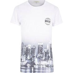 White short sleeve New York city fade t-shirt - print t-shirts - t-shirts / vests - men T Shirt Vest, Mens Sale, Printed Shirts, New York City, White Shorts, Shirt Print, Sleeve, Vests, Mens Tops