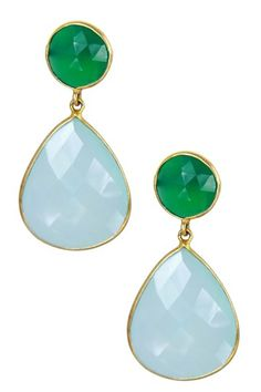 Saachi 18K Gold Clad Faceted Green Onyx Aqua Chalcedony Earrings by Assorted on @HauteLook