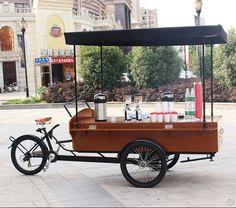 Café de madera push carros calle tienda móvil de la bici barbacoa carrito de comida para la venta