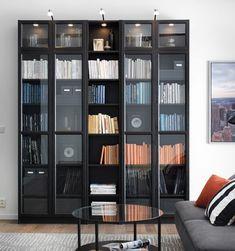 Home Library Furniture Ikea Billy 44 Ideas Bookcase With Glass Doors, Black Bookcase, Bookshelves In Living Room, Ikea Billy Bookcase, Ikea Living Room, Glass Shelves, Living Rooms, Library Furniture, Ikea Furniture