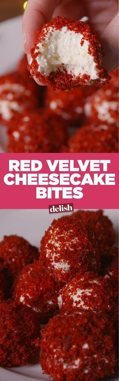 Covered in red velvet cake crumbs, these sweet cheese balls are the perfect small bite for any party.