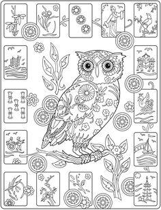 Owl Abstract Doodle Zentangle Coloring pages colouring adult detailed advanced printable Kleuren voor volwassenen coloriage pour adulte anti-stress kleurplaat voor volwassenen http://www.doverpublications.com/zb/samples/796647/sample6c.html