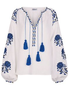 White Linen Floral Embroidered Blouse
