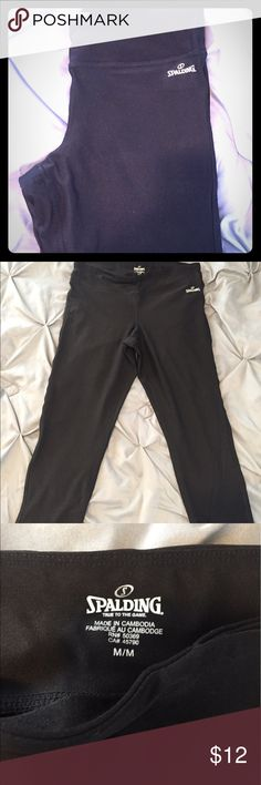 Spaulding workout pants Black Spaulding workout pants. Hit right below the knee. Size medium. Never worn. NWOT!! Pants Leggings