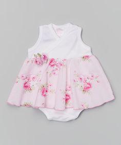White & Rose Bouquet Swirl Skirted Bodysuit - Infant