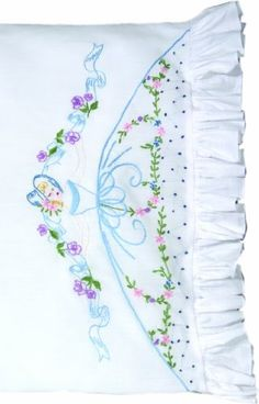 Fairway Needlecraft 82565 Vintage Ruffled Edge Pillowcases, Ribbon and Flower Lady Design, Standard, White Embroidery Transfers, Hand Embroidery Patterns, Vintage Embroidery, Embroidery Kits, Cross Stitch Embroidery, Machine Embroidery, Embroidery Designs, Embroidered Pillowcases, Linens And Lace