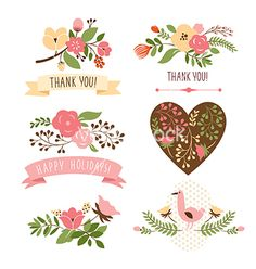 Set of floral graphic elements vector - by Lenlis on VectorStock®