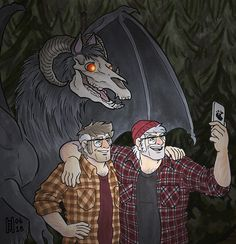 HAPPY BIRTHDAY, STAN AND FORD! - Selfies with the Jersey Devil (click to embiggen) It's that time of year again! Time for the Stans' birthday, that is! Also, the 6th anniversary of the premiere of Gravity Falls!