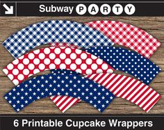 INSTANT DOWNLOAD 4th of July Printable Cupcake Wrappers. Patriotic Red White Blue Stars and Stripes. DIY 8x11 jpg.