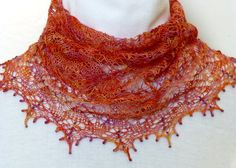 Gorgeous Italian Sunset Lace-knit Cowl in Merino by NeedlesnPurls
