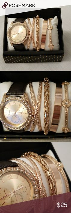 Rose Gold Arm Candy Set Comes with 4 rose gold bangles, and 1 watch with brown leather strap. Brand new. Comes in orignal box. Do not trade but I do accept reasonable offers. Jewelry Bracelets