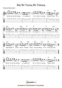 Bak Bir Varmis Bir Yokmus Nota Tab Gitaregitim Net Notalara Dokulmus Muzik Muzik Notalari Muzik Teorisi