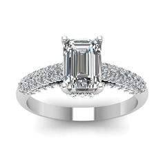 2 Carat Micro Pave Set Emerald Cut Engagement Ring with Diamonds in 18K White Gold exclusively styled by Fascinating Diamonds
