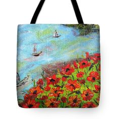 My #poppy #painting on a #bag #tote #impressionism http://fineartamerica.com/featured/beach-with-poppy-hill-ligia-tibu.html