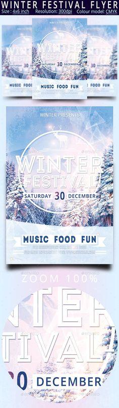 Winter Festival Flyer Template PSD #design Download: http://graphicriver.net/item/winter-festival-flyer/13645668?ref=ksioks