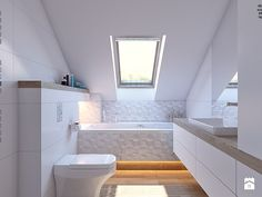 Attic, toilet and bathroom equipment in the attic .- Attic, toilet and bath. Attic, toilet and bathroom equipment in the attic …- Attic, toilet and bathroom equipment with Small Attic Bathroom, Loft Bathroom, Upstairs Bathrooms, Bad Inspiration, Bathroom Inspiration, Loft House, House Rooms, A Frame House, Laundry Room Design