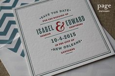 Shale Blue + Cherry Red Letterpress Save the Dates
